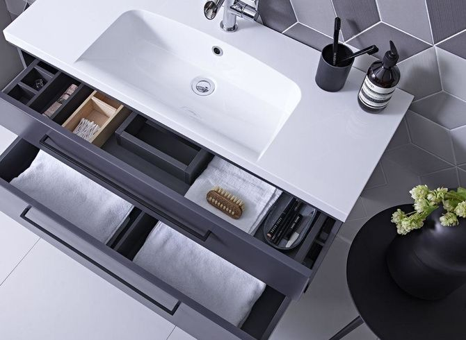 wall mounted bathroom vanity with in-drawer storage