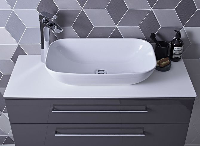 Scheme 1000mm Gloss Dark Clay with Rapport Vessel Basin and Solid Surface Worktop Lifestyle v1