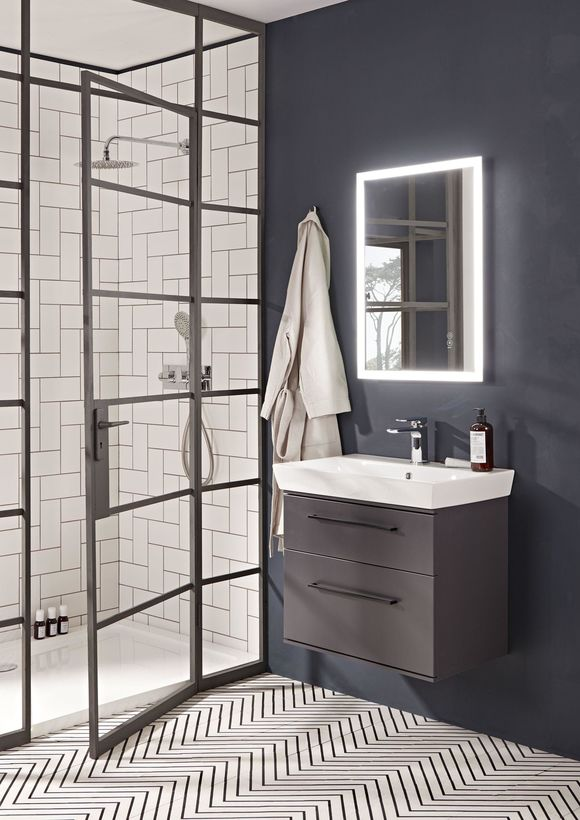 crittall black frame shower panel with Roper Rhodes navy bathroom furniture and illuminated mirror