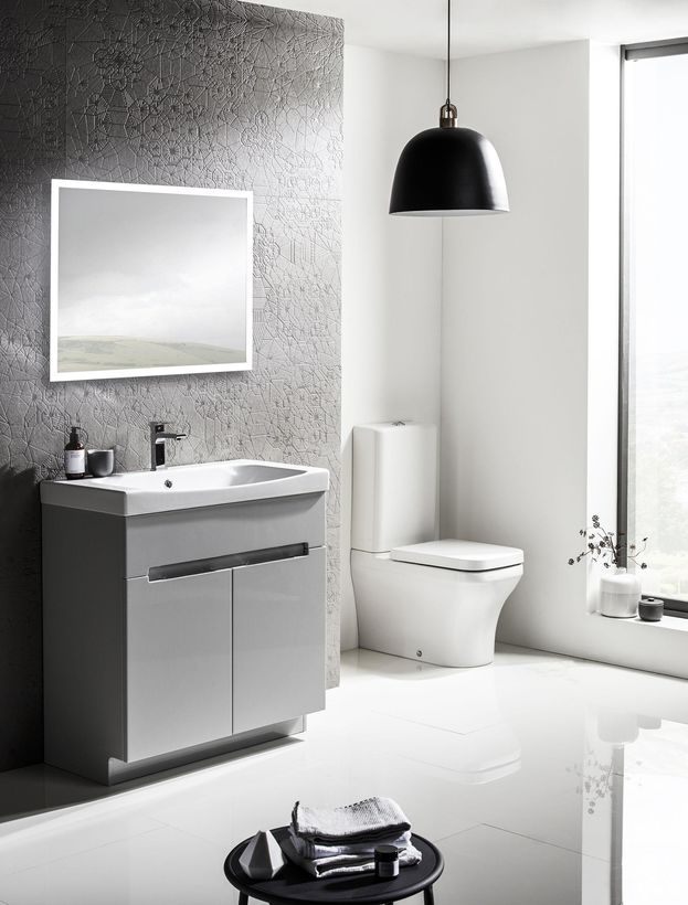 Roper Rhodes freestanding grey bathroom vanity unit with illuminated bathroom mirror