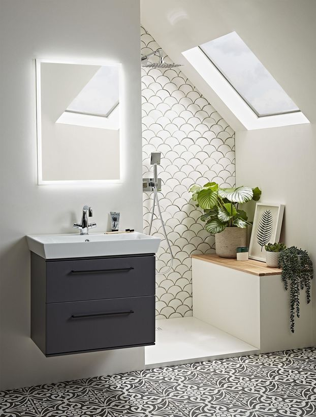 attic bathroom with navy bathroom unit and Roper Rhodes illuminated cabinet