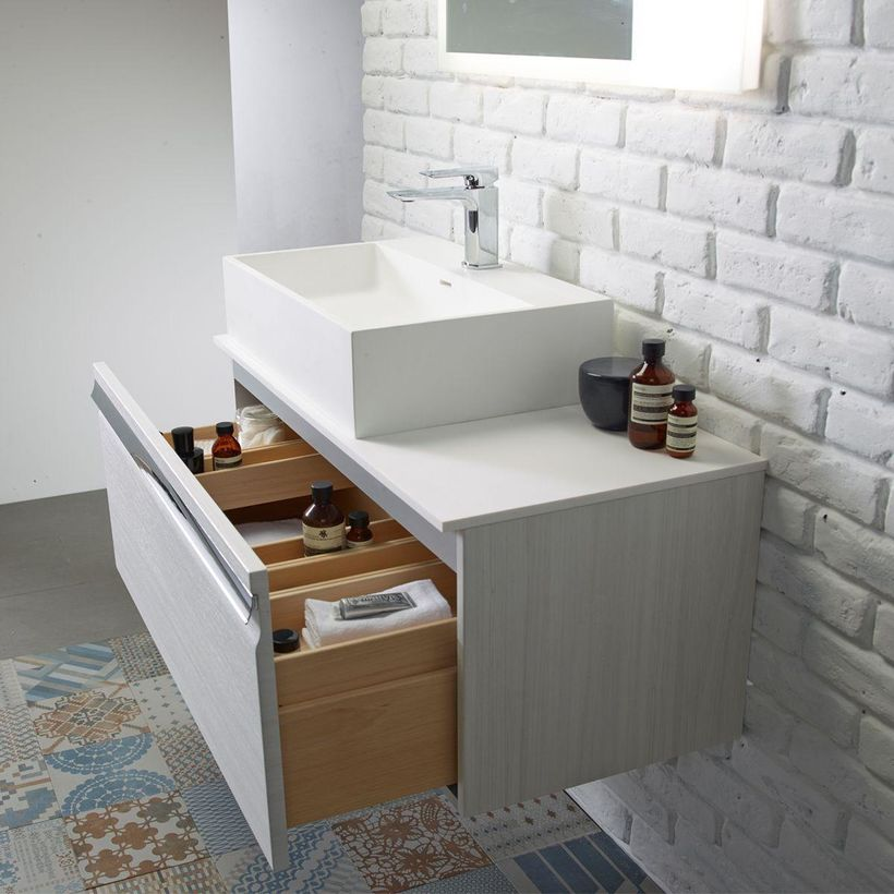 900mm wall mounted bathroom unit drawer open