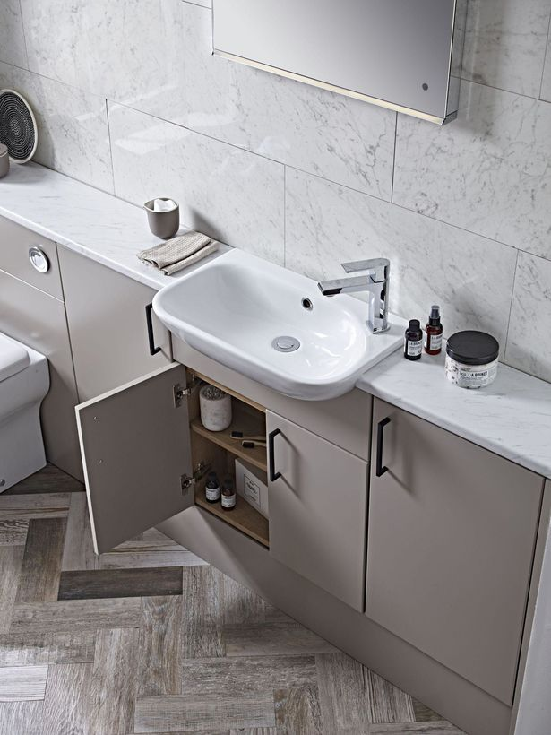 Aruba mocha run with drawer open and note basin lifestyle