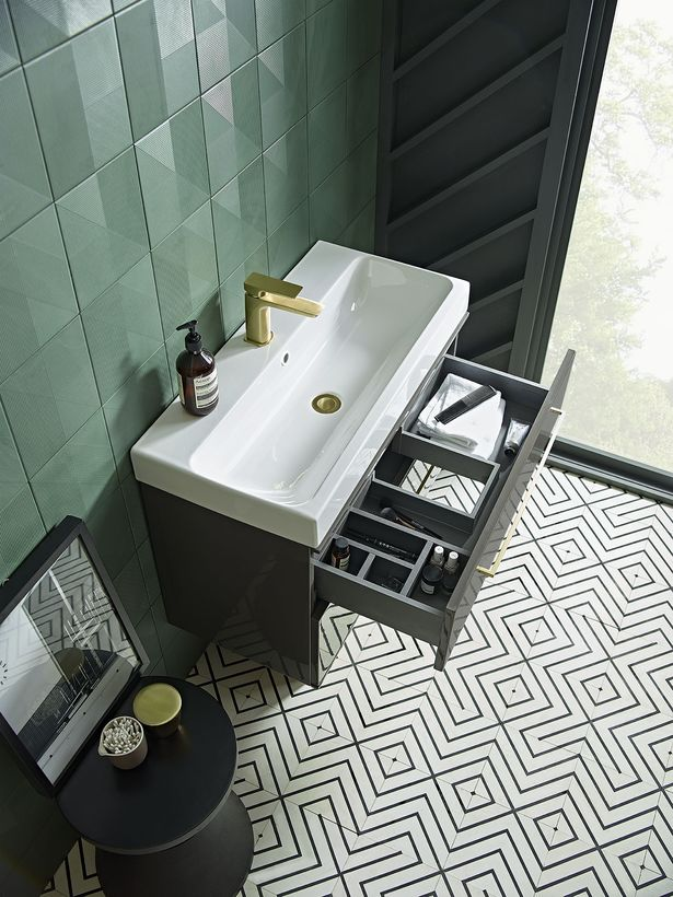 Scheme 1000mm Gloss Dark Clay with Ceramic Basin and brass tap open drawer LR