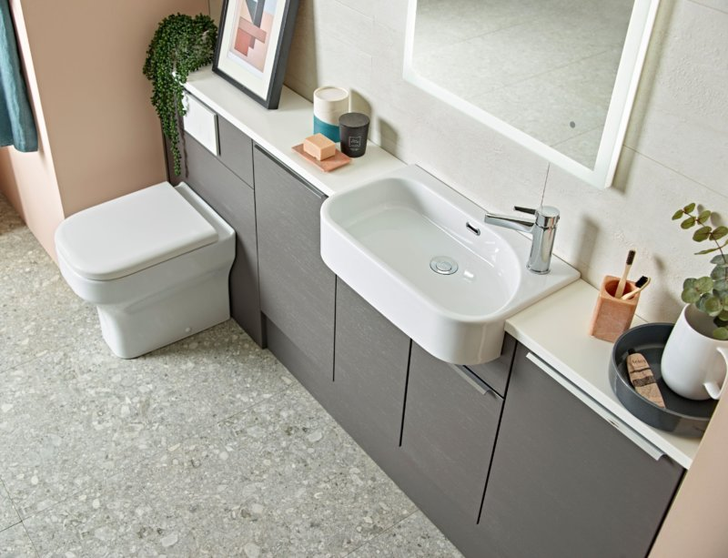Charcoal Elm furniture top down view of Accent sanitaryware lifestyle