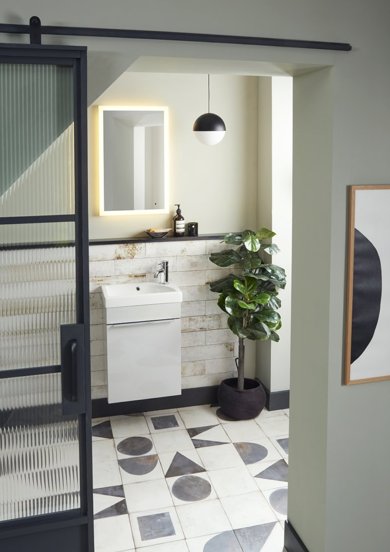Esta cloakroom wall mounted Light Grey lifetsyle